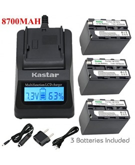 Kastar Ultra Fast Charger(3X faster) Kit and Battery (3-Pack) for Sony NP-F975, NP-F970, NP-F960, NP-F950 work with Sony DCR-VX2100, DSR-PD150, DSR-PD170, FDR-AX1, HDR-AX2000, HDR-FX1, HDR-FX7, HDR-FX1000, HVL-LBPB, HVR-HD1000U, HVR-V1U, HVR-Z1P, HVR-Z1U,