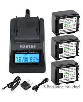 Kastar Ultra Fast Charger(3X faster) Kit and Battery (3-Pack) for Canon BP-809, BP-819, BP-827 Work with Canon FS10, FS11, FS100, FS21, FS22, FS200, FS31, FS300, VIXIA HF10, HF11, HF100, HF20, HF200, HF S10, S100, S20, S21, S200, HG20, HG21, HG30, G10, M3