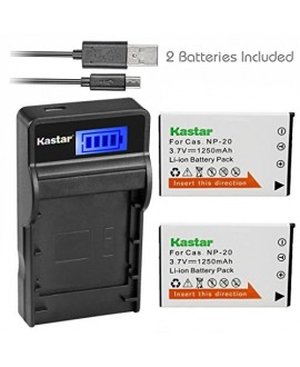 Kastar Battery (X2) + SLIM LCD Charger for Casio NP20 NP-20 & Exilim EX-M1 EX-M2 EX-M20 EX-S20 EX-S100 EX-S500 EX-S600 EX-S880 EX-Z3 EX-Z4 EX-Z5 EX-Z6 EX-Z7 EX-Z8 EX-Z11 EX-Z60 EX-Z70 EX-Z75 EX-Z77