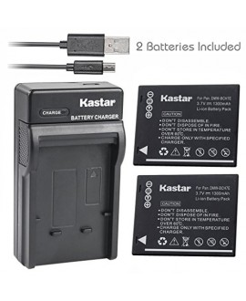 Kastar Battery (X2) & Slim USB Charger for Panasonic DMW-BCH7, DMW-BCH7PP, DMW-BCH7E, DE-A76 and Panasonic Lumix DMC-FP1, DMC-FP2, DMC-FP3, DMC-FT10, DMC-TS10 Cameras
