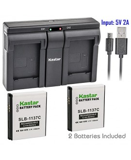 Kastar SLB1137C 2x Battery + USB Dual Charger for Samsung SLB-1137C SLB1137C 1137C Battery and Samsung i7, Samsung Digimax i7 Cameras
