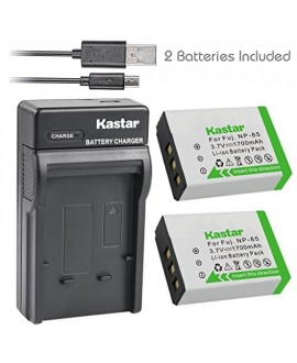 Kastar Battery (X2) & Slim USB Charger for Fujifilm NP-85, BC-85, FNP85, NP85 and Fujifilm FinePix S1, FinePix SL240, FinePix SL260, FinePix SL280, FinePix SL300, FinePix SL305, FinePix SL1000