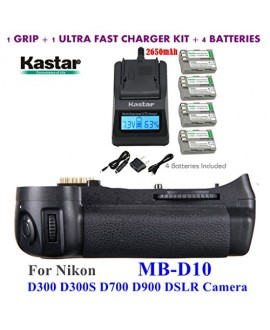 Kastar Pro Multi-Power Vertical Battery Grip (Replacement for MB-D10) + 4x EN-EL3e Replacement Batteries + Ultra Fast Charger Kit for Nikon D300 D300S D700 D900 Digital SLR Camera