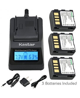 Kastar Ultra Fast Charger(3X faster) Kit and Battery (3-Pack) for JVC BN-VF707 and JVC GR-D245, GR-D246, GR-D247, GR-D250, GR-D253, GR-D270, GR-D271, GR-D275, GR-D290, GR-D293, GR-D295, GR-D370, GR-D371, GR-D375, GR-D390, GR-D393, GR-D395, GR-D396, GR-D45