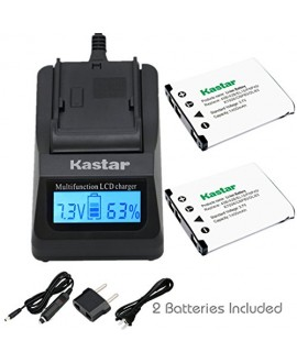 Kastar Ultra Fast Charger Kit and Battery (2-Pack) for Casio NP-80 MH-63 work with Casio Exilim EX-G1, EX-H5, EX-H50, EX-H60, EX-JE10, EX-N1, EX-N5, EX-N10, EX-N20, EX-N50, EX-S5, EX-S6, EX-S7, EX-S8, EX-S9, EX-Z1, EX-Z2, EX-Z16, EX-Z26, EX-Z28, EX-Z33, E