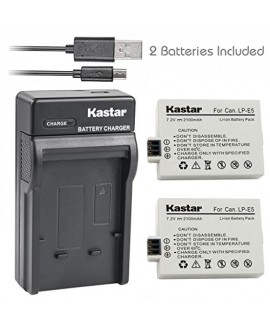 Kastar Battery (X2) & Slim USB Charger for Canon LP-E5 LPE5 and Canon EOS Rebel XS, Rebel T1i, Rebel XSi, 1000D, 500D, 450D, Kiss X3, Kiss X2, Kiss F digital camera, BG-E5 grip