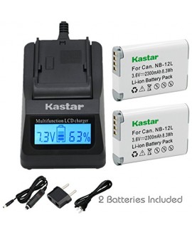 [Fully Decoded] Kastar NB-12L Battery (2-Pack) and Ultra Fast Charger Kit for Canon NB-12L work for Canon PowerShot G1 X Mark II, Canon PowerShot N101, Canon VIXIA mini X (LEGRIA mini X) Cameras