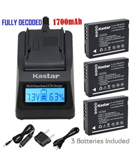 Kastar Ultra Fast Charger(3X faster) Kit and Battery (3-Pack) for Panasonic DMW-BCG10, DMW-BCG10E, DMW-BCG10PP, DMW-BCG10GK, DE-A65, DE-A66 and Panasonic Lumix DMC-3D1, DMC-SZ8, DMC-TZ2,DMC-TZ6, DMC-TZ7, DMC-TZ8, DMC-TZ10, DMC-TZ18, DMC-TZ19, DMC-TZ20, DM