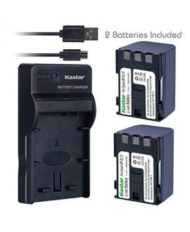 Kastar Battery (X2) & Slim USB Charger for Canon BP-2L12 BP-2L14 BP-2L15 BP-2L24 BP-2L5 NB-2L12 NB-2L14 NB-2L NB-2LH and DC310 DC330 Elura 60 Vixia HG10 HV20 HV30 ZR100 ZR200 ZR300 ZR500 ZR600 ZR800