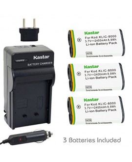 Kastar Battery (3-Pack) and Charger Kit for Kodak KLIC-8000, K8000 work with Kodak Z1012 IS, Z1015 IS, Z1085 IS, Z1485 IS, Z612, Z712 IS, Z812 IS, Z8612 IS Cameras