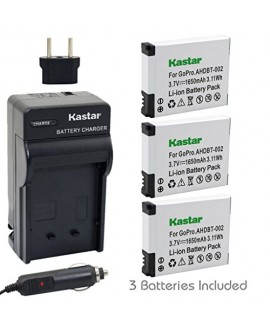 Kastar AHDBT-002 Battery (3-Pack) and Charger Kit for GoPro AHDBT-001, AHDBT-002 work with GoPro HD HERO1, HERO2, GoPro Original HD HERO Cameras