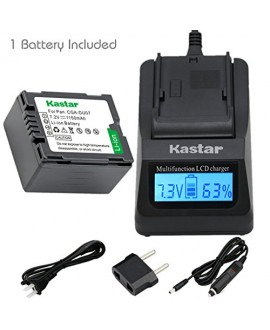 Kastar Fast Charger and Battery (1-Pack) for Panasonic CGA-DU06 CGA-DU07 CGA-DU14 CGA-DU21 VW-VBD070 VBD140 VBD210 and PV-GS31 PV-GS33PV-GS34 PV-GS35 PV-GS39 PV-GS400 PV-GS500 PV-GS50 PV-GS50S PV-GS55