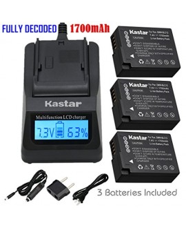 Kastar Ultra Fast Charger(3X faster) Kit and Battery (3-Pack) for Panasonic DMW-BLC12, DMW-BLC12E, DMW-BLC12PP, DE-A79 work with Panasonic Lumix DMC-FZ200, DMC-FZ1000, DMC-G5, DMC-G6, DMC-GH2 Cameras