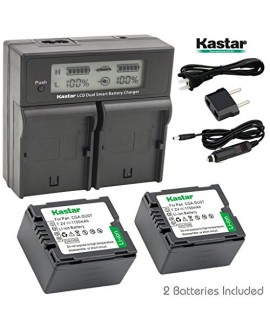 Kastar LCD Dual Smart Fast Charger & 2 x Battery for Panasonic CGR-DU07, CGA-DU07and PV-GS31, PV-GS33,PV-GS34, PV-GS35, PV-GS39, PV-GS400, PV-GS500, PV-GS50, PV-GS50S, PV-GS55 Digital Camcorder