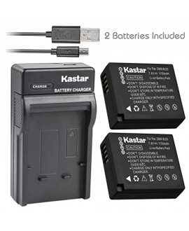 Kastar Battery (X2) & Slim USB Charger for Panasonic DMW-BLE9, DMW-BLG10, DMWBLE9, DMWBLG10 and Panasonic Lumix DMC-GF3, DMC-GF5, DMC-GF6, DMC-GX7, DMC-LX100 Digital Cameras