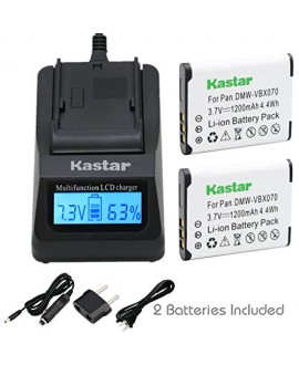 Kastar Ultra Fast Charger(3X faster) Kit and Battery (2-Pack) for Pentax D-Li88, Panasonic VW-VBX070, Sanyo DB-L80, DB-L80AU Battery and Digital Cameras (Search your Camera Model down Description)