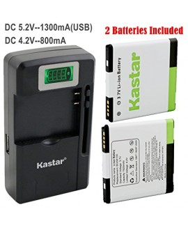 Kastar G14 / BG58100 Battery (2-Pack) and intelligent mini travel Charger ( with high speed portable USB charge function) for HTC G14, HTC BG58100, HTC EVO 3D (Fits BG86100), HTC Sensation, HTC Amaze, HTC MyTouch 4G Slide, HTC Sensation XE, HTC Sensation