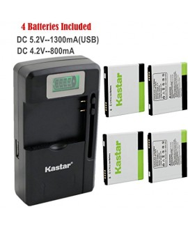 Kastar FL-53HN Battery (4-Pack) and intelligent mini travel Charger ( with high speed portable USB charge function) for LG Thrill 4G P925 / LG Optimus 3D P920 / LG G2x P999 P990 / LG Optimus 2x P990 / LG DoublePlay C729, Fit FL-53HN / FL53HN --Supper Fast