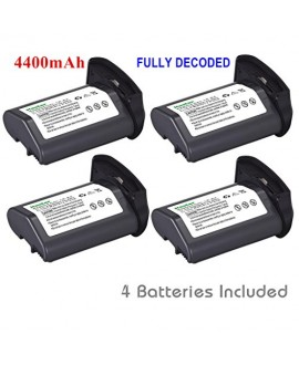 [Full Coded] Kastar LP-E4 Battery (4-Pack) 11.1V 4400mAh 48.4Wh for Canon LP-E4 LPE4 Li-ion Battery work with Canon EOS-1D C, EOS-1D Mark III, EOS-1Ds Mark III, EOS-1D Mark IV Cameras