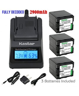 Kastar Ultra Fast Charger(3X faster) Kit and Battery (3-Pack) for Panasonic VW-VBN260 and Panasonic HC-X800 HC-X900 HC-X900M HC-X910 HC-X920 HC-X920M HDC-HS900 HDC-SD800 HDC-SD900 HDC-TM900 Cameras