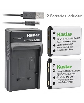 Kastar Battery (X2) & Slim USB Charger for Nikon EN-EL10 MH-63 and Nikon Coolpix S60, S80, S200, S210, S220, S230, S500, S510, S520, S570, S600, S700, S3000, S4000, S5100 + More Camera