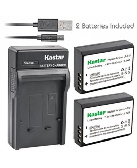 Kastar Battery (X2) & Slim USB Charger for Canon LP-E10, LC-E10 and Canon EOS 1100D, EOS 1200D, EOS Rebel T3, EOS Rebel T5, EOS Kiss X50, EOS Kiss X70 DSLR Camera & Canon LPE10 Grip