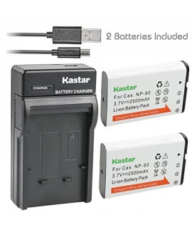 Kastar Battery (X2) & Slim USB Charger for Casio NP-90 NP90 work with Casio Exilim EX-H10 EX-H15 EX-H20G EX-H20GBK EX-H20GSR EX-FH100 EX-FH100BK Cameras