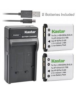 Kastar Battery (X2) & Slim USB Rapid Charger for Fujifilm NP-45, Nikon EN-EL10, Olympus LI-42B LI-40B, Kodak KLIC-7006 K7006, Casio NP-80 CNP80, Pentax D-Li63, D-Li108, Ricoh DS-6365 Battery.