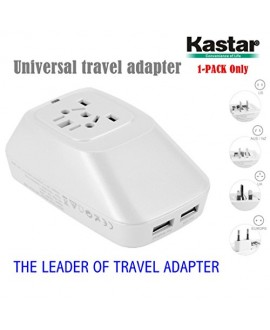 Kastar Safety International Power Adapter, Universal World-Wide Travel AC Adapter with 2.1A Dual USB Charger All-in-one AC Power Plug For AUS USA EU UK (WHITE COLOR)