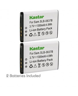 Kastar Battery 2 Pack for Samsung SLB-0837B SLB-0837(B) Samsung Digimax L70 Digimax L83T L85T Samsung Digimax L201 Digimax L301 Digimax NV8 Digimax NV10 Digimax NV15 Digimax NV20 Samsung Digimax SL201