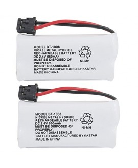 Kastar 2-PACK BBTG0645001 model BT1008 Cordless Phone Battery for Uniden BT-1008 and Uniden DECT 2060 DECT 2080 DECT 2080-3 DWX207 WXI2077 43-269 BT-1008S CAS-D6325 BT1008 DCX200 23-956 DWX207