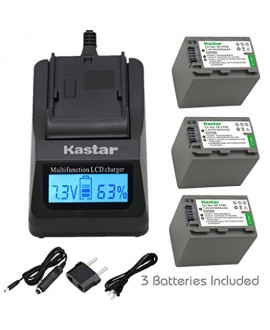 Kastar Ultra Fast Charger(3X faster) Kit and Battery (3-Pack) for Sony NP-FP90 and Sony DCR-30, DVD92, DVD103, DVD105, DVD202, DVD203, DVD205, DVD304, DVD305, DVD403, DVD404, DVD405, DVD505, DVD602, DVD605, DVD653, DVD703, DVD705, DVD755, DVD803, DVD805,