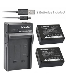 Kastar Battery (X2) & Slim USB Charger for Fujifilm NP-W126, BC-W126 and FinePix HS30EXR, HS33EXR, HS50EXR, FinePix X-A1, FinePix X-E1, X-E2, FinePix X-M1, FinePix X-Pro1, X-Pro2, FinePix X-T1