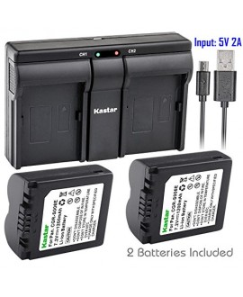 Kastar S006 2x Battery + USB Dual Charger for Panasonic CGA-S006, CGR-S006 and Panasonic Lumix DMC-FZ7, DMC-FZ8, DMC-FZ18, DMC-FZ28, DMC-FZ30, DMC-FZ35, DMC-FZ38, DMC-FZ50 Digital Camera