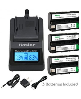 Kastar Ultra Fast Charger(3X faster) Kit and Battery (3-Pack) for Sony NP-FS11, NP-F10, NP-FS10, NP-FS12, FS21, FS31 work with Sony CCD-CR1, CCD-CR5, DCR-PC1, DCR-PC2, DCR-PC3, DCR-PC4, DCR-PC5, DCR-TRV1VE, Cyber-shot DSC-F505, DSC-F55, DSC-F55, DSC-P1, D