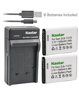 Kastar Battery (X2) & Slim USB Charger for Samsung SLB-1137D Samsung i80 Samsung i85 Samsung i100 Samsung L74 Samsung Wide NV11 Wide NV24HD Wide NV30 Wide NV40 Wide NV100HD Wide NV103 Wide NV106 HD