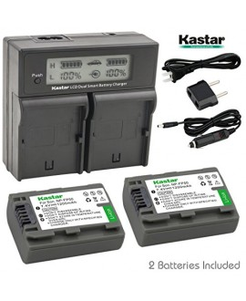 Kastar LCD Dual Fast Charger + 2 x Battery forSony NP-FP51 NP-FP50 NP-FP30 & DCR-30 DVD103 DVD105 DVD203 DVD205 DVD305 DVD92 HC20 HC21 HC26 HC30 HC32 HC36 HC40 HC42 HC46 HC65 HC85 HC96 SR40 SR60 SR80