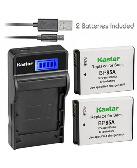 Kastar Battery (X2) & SLIM LCD Charger for Samsung EA-BP85A EA-BP85A/E Samsung BP85A Samsung EC-SH100ZBPBUS EC-SH100ZBPRUS EC-SH100ZBPSUS Samsung PL210 Samsung SH100 Samsung ST200 ST200F Samsung WB210