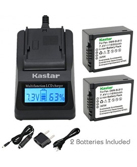 Kastar Ultra Fast Charger(3X faster) Kit and Battery (2-Pack) for Panasonic DMW-BLB13, DMW-BLB13E, DMW-BLB13GK and Panasonic DE-A49, DE-A49C work with Panasonic Lumix DMC-G1, DMC-G2, DMC-G10, DMC-GF1, DMC-GH1 Cameras [Over 3x faster than a normal charger