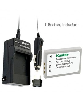Kastar Battery (1-Pack) and Charger Kit for Olympus Li-80B and Konica Minolta NP-900 work with Olympus T-100,t-110,x-36 and Konica Minolta DiMAGE E40, E50, KYOCERA EZ4033 etc. Cameras