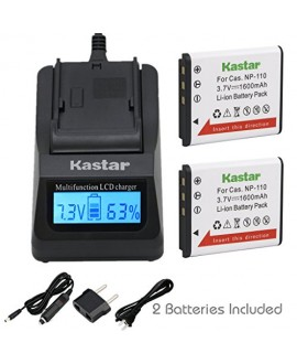 Kastar Fast Charger + CNP110 Battery (2-Pack) for Casio NP-110, NP110 and Casio Exilim EX-FC200S, EX-Z2000, EX-Z3000, EX-ZR10, EX-ZR15, EX-ZR20 Camera