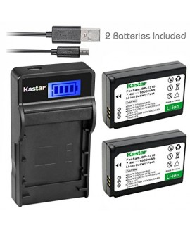 Kastar Battery (X2) & SLIM LCD Charger for Samsung BP-1310, BP1310, ED-BP1310 and Samsung NX5, NX10, NX11, NX20, NX100 Digital Cameras