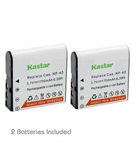 Kastar Battery (2-Pack) for Casio NP-40 & Casio Exilim EX-Z1000 EX-Z1050 EX-Z1080 EX-Z1200 EX-Z200 EX-Z30 EX-Z300 EX-Z40 EX-Z450 EX-Z50 EX-Z500 EX-Z55 EX-Z57 PRO EX-Z600 PRO EX-Z700 EX-Z750 EX-Z850