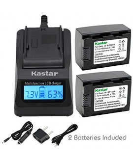 Kastar Fast Charger Kit and Battery (2-Pack) for Samsung IA-BP105R and HMX-F80 F90 HMX-F800 F900 SMX-F50 SMX-F53 SMX-F54 SMX-F500 SMX-F501 SMX-F530 SMX-F70 SMX-F700 HMX-H300 H303 H304 H305 HMX-H320