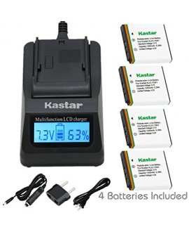 Kastar Ultra Fast Charger(3X faster) Kit and Battery (4-Pack) for Kodak KLIC-7001 and Kodak EasyShare M320, M340, M341, M753 Zoom, M763, M853 Zoom, M863, M893 IS, M1063, M1073 IS, V550, V570, V610, V705, V750 Cameras [Over 3x faster than a normal charger