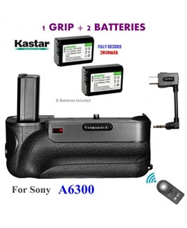 Kastar Infrared Remote Control Professional Vertical Battery Grip (Built-In 2.4G Wireless Contro) + 2 x NP-FW50 Replacement Batteries for Sony ILCE-A6300 / A6300 Digital SLR Camera