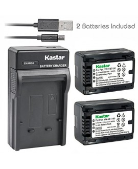 Kastar Battery X2 & Slim USB Charger for Panasonic VW-VBT190 HC-V110 V130 V160 V180 HC-V201 V210 V250 HC-V380 HC-V510 V520 V550 HC-V710 V720 V750 V770 HC-VX870 HC-VX981 HC-W580 W850 HC-WXF991 Cameras