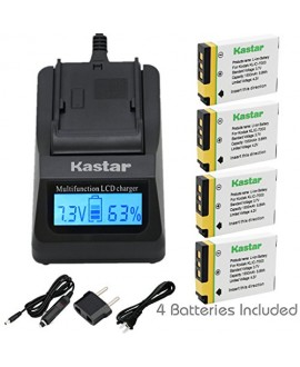 Kastar Ultra Fast Charger(3X faster) Kit and Battery (4-Pack) for Kodak KLIC-7003, K7003, and GE GB-40 work for Kodak EasyShare M380, EasyShare M381, EasyShare M420, EasyShare V803, EasyShare V1003, EasyShare Z950 and GE E1030, E1040, E1050TW, E1240, E125