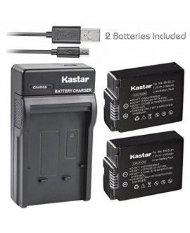 Kastar Battery (X2) & Slim USB Charger for Nikon EN-EL21, ENEL21, MH-28 and Nikon 1 V2 Camera