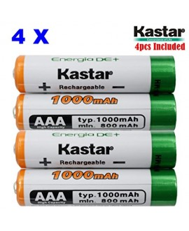 Kastar AAA (4-Pack) Ni-MH 1000mAh Super High-Capacity Rechargeable Batteries Pre-charged